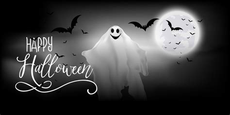 Ready in ai, svg, eps or psd. Free Vector | Halloween banner with ghost and bats design
