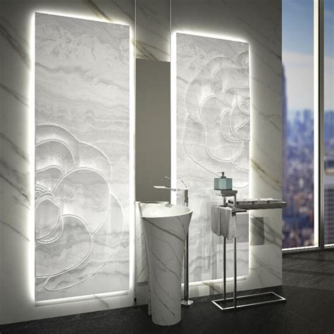 sculptured backlit white onyx panel marble and