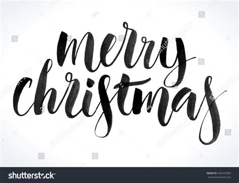Merry Christmas Background Modern Calligraphy Hand Stock