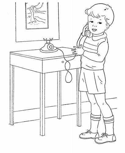 Boys Coloring Phone Pages Boy Sheets Telephone