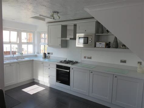 light grey beaded shaker kitchen  gallery fitted