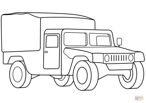 military medical vehicle coloring page  printable