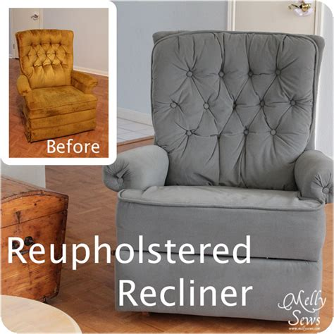 How To Reupholster A Reclining Sofa by Project Redecorate Reupholster A Recliner Melly Sews