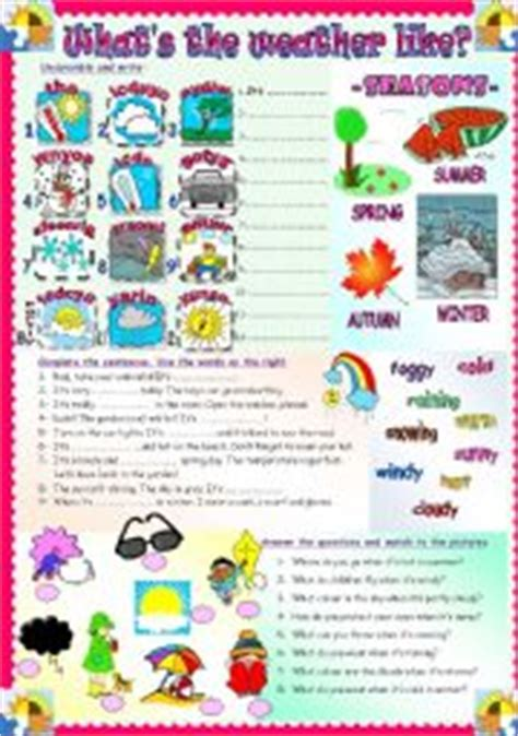 what s the weather like weather seasons esl worksheet by asungilsanz