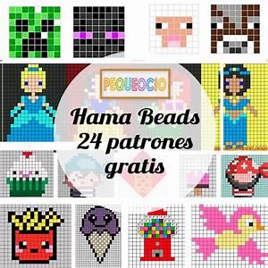 Hama beads, 24 patrones gratis Pequeocio