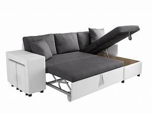 Canapé Convertible Coffre : canap d 39 angle convertible en lit avec poufs oslo gris blanc ~ Teatrodelosmanantiales.com Idées de Décoration