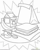 Healthy Lunch Coloring Pages Worksheet Lunches Worksheets Kindergarten Cute Education Packed Learning Sandwich Sheet Stuff Cafeteria Printable Eat Activity Yahoo sketch template