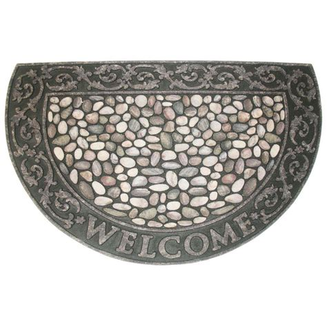 Doormat Rubber by J M Home Fashions Welcome Pebbles Half 23 In X 35