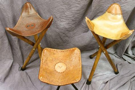 legged camp stools  leather seats bring