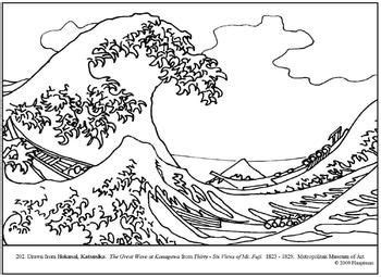 hokusai  great wave coloring page  lesson plan