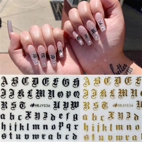 nail art  decal stickers alphabet letters white black gold acrylic nails toolstickers