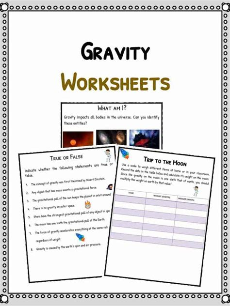 gravity facts worksheets  kids forces