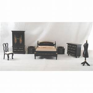 Bed Room Set Japanese Black Lacquer dollhouse furniture 1