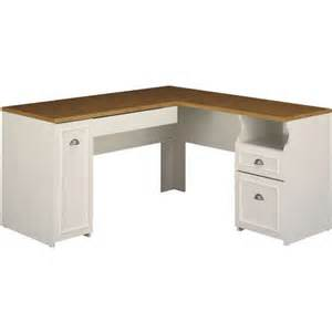 bush fairview collection 60 quot l shaped desk antique white