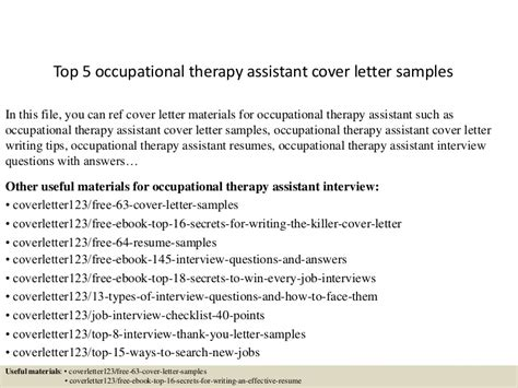 top  occupational therapy assistant cover letter samples