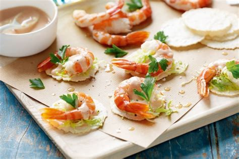 easy canapes prawn cocktail canapes recipes delicious com au