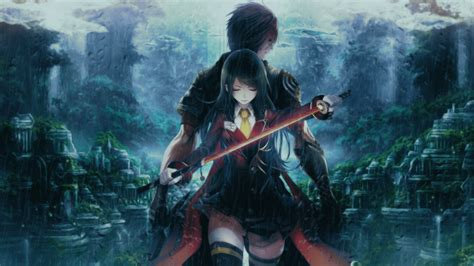wallpaper anime girl boy couple fighter katana