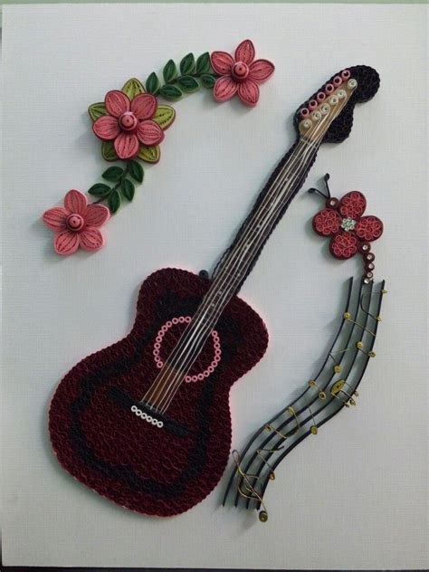 paper quilled guitara musical theme quilling