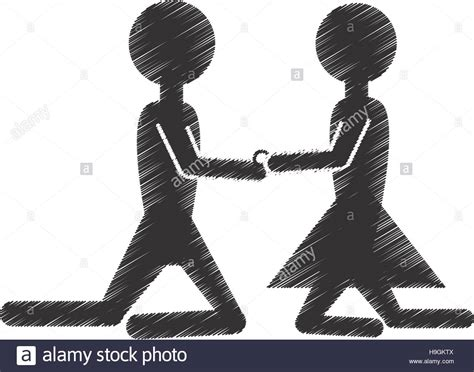 hand drawing male female couple proposal marriage stock