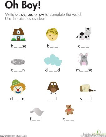 diphthongs oh boy worksheets phonics and phonemic