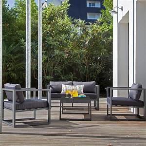 Salon De Jardin 4 Places : salon de jardin alu 4 places manhattan gris proloisirs ~ Farleysfitness.com Idées de Décoration