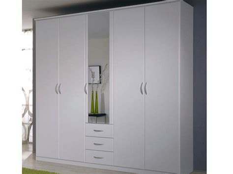 White Mirrored Wardrobe by Kendal 5 Door Mirrored Wardrobe With Drawers In White