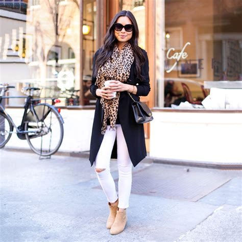 White Skinny Jeans With Leopard Scarf