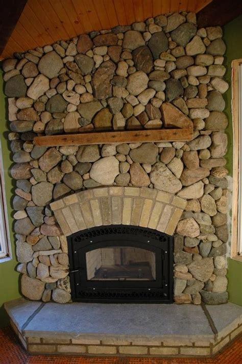 fieldstone fireplace