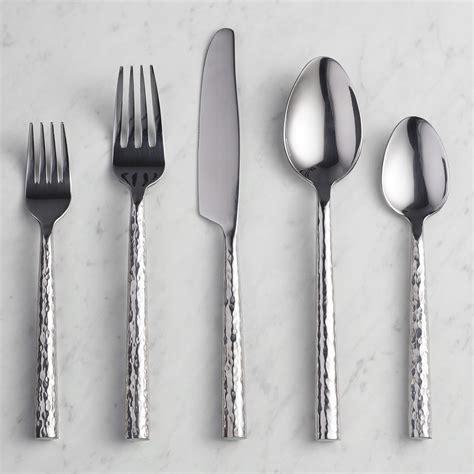 flatware hammered silverware stainless steel handle worldmarket collection sets market sawyer canteen xxx bin