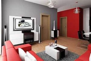 apartment decorating ideas living room bedroom studio With gray and red living room interior design