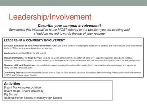 community involvement resume exle bryant resume writing
