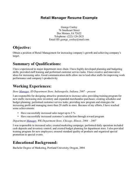How To Write A Retail Resume With No Experience by Retail Manager Resume Exle Retail Manager Resume