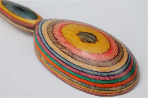 rainbow colors handmade wooden spoon wood intarsia