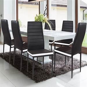 Lot De 6 Chaises Salle à Manger : lot de 6 chaises romane noires bandeau blanc pour salle manger m ~ Teatrodelosmanantiales.com Idées de Décoration
