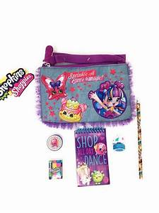 shopkins denim purse with zipper with pencil pad eraser