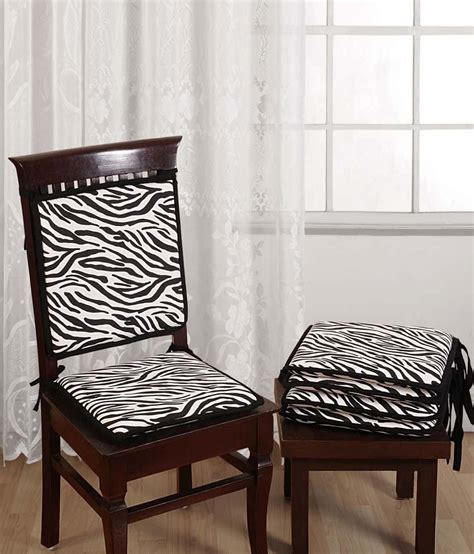 swayam standard size zebra printed chair pads with loops