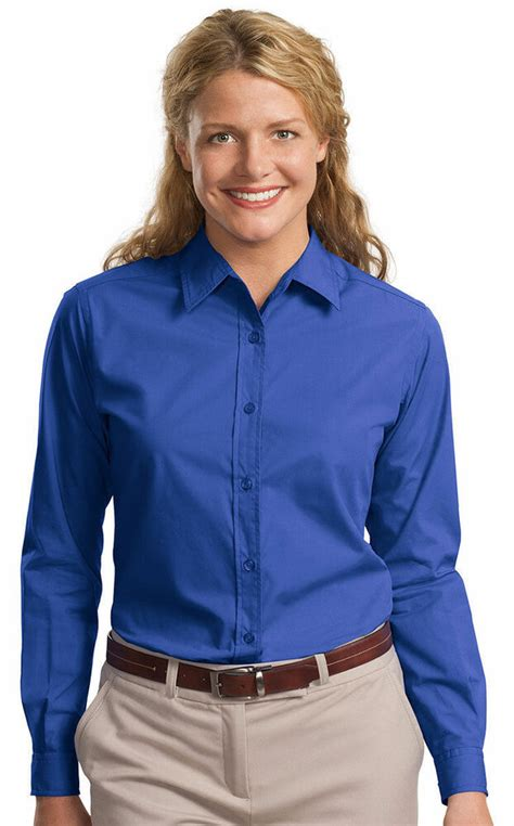 Port Authority Womens Easy Care Long Sleeve Button Front