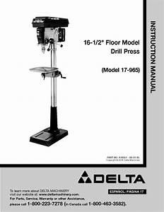 Delta 17 2 U0026quot  Floor Model Drill Press Instruction