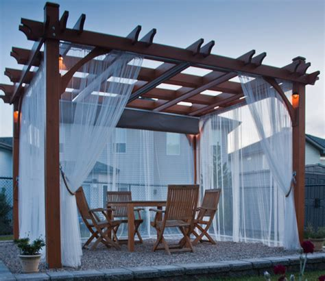 Outdoor Patio Curtains Canada pergola kit 10x12 with retractable canopy contemporary
