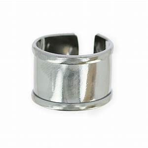 Raw eco brass ring with curved edge 15 mm rhodium tone ...