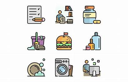 Routine Daily Icon Actions Cartoon Objects Transparent