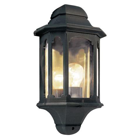 black garden wall lantern half lantern fits flush to