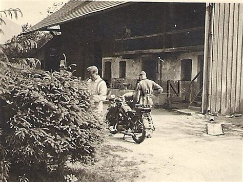 wwii german rp soldier motorcycle barn stables named
