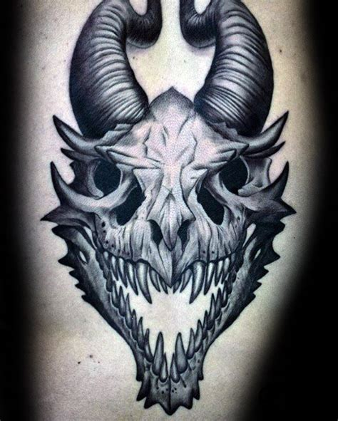 60 Dragon Skull Tattoo Designs For Men  Manly Ink Ideas