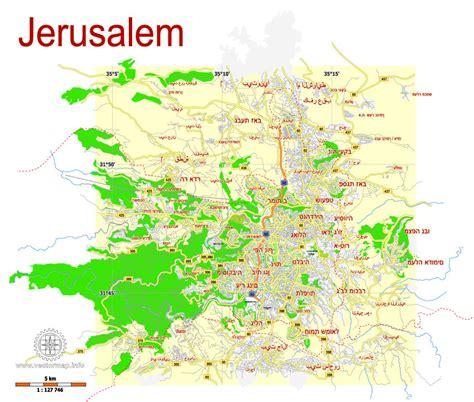 jerusalem israel  printable svg map hebrew