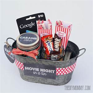 Gift basket idea: A movie night in a tin! Includes free ...