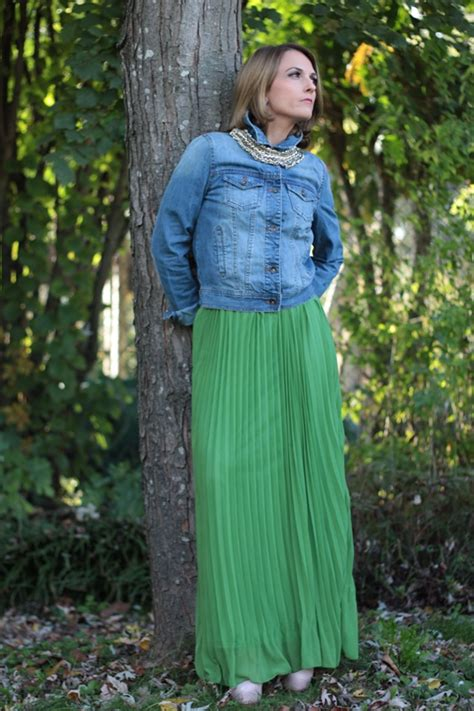 Long green skirt and Denim Jacket (Fashion tip #77) - Indiansavage.com by Maggie Dallospedale