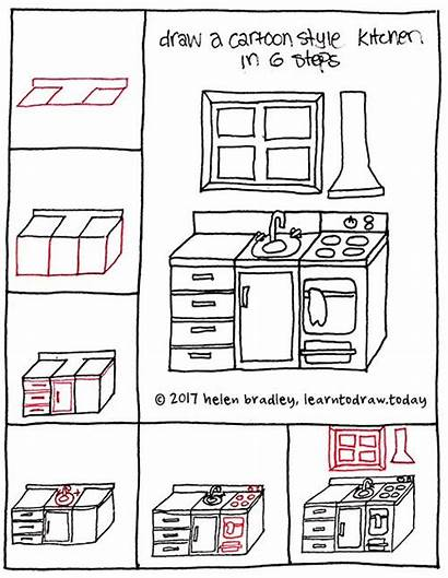 Kitchen Easy Cartoon Drawing Draw Step Doodles