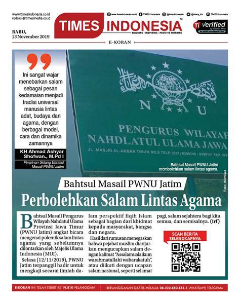 jaga persatuan bahtsul masail pwnu jatim perbolehkan salam lintas agama times indonesia