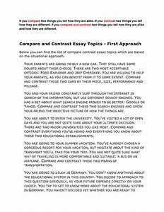 compare contrast essay ideas With essay topics for college students
